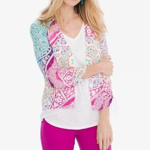 Chico's Medallion Ruched Sleeve Open Cardigan